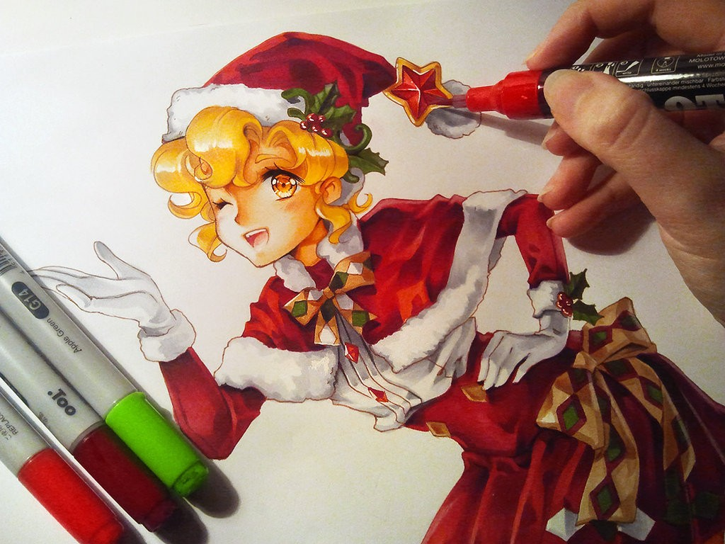chrismas manga drawings watercolor paintings by naschi