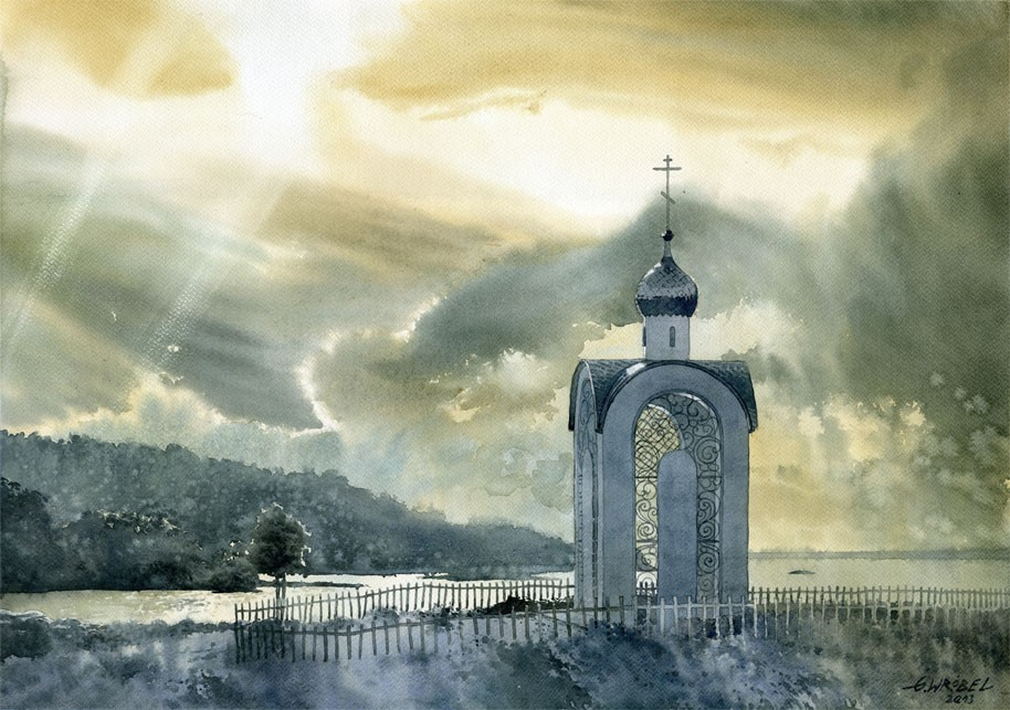 8 church watercolor paintings