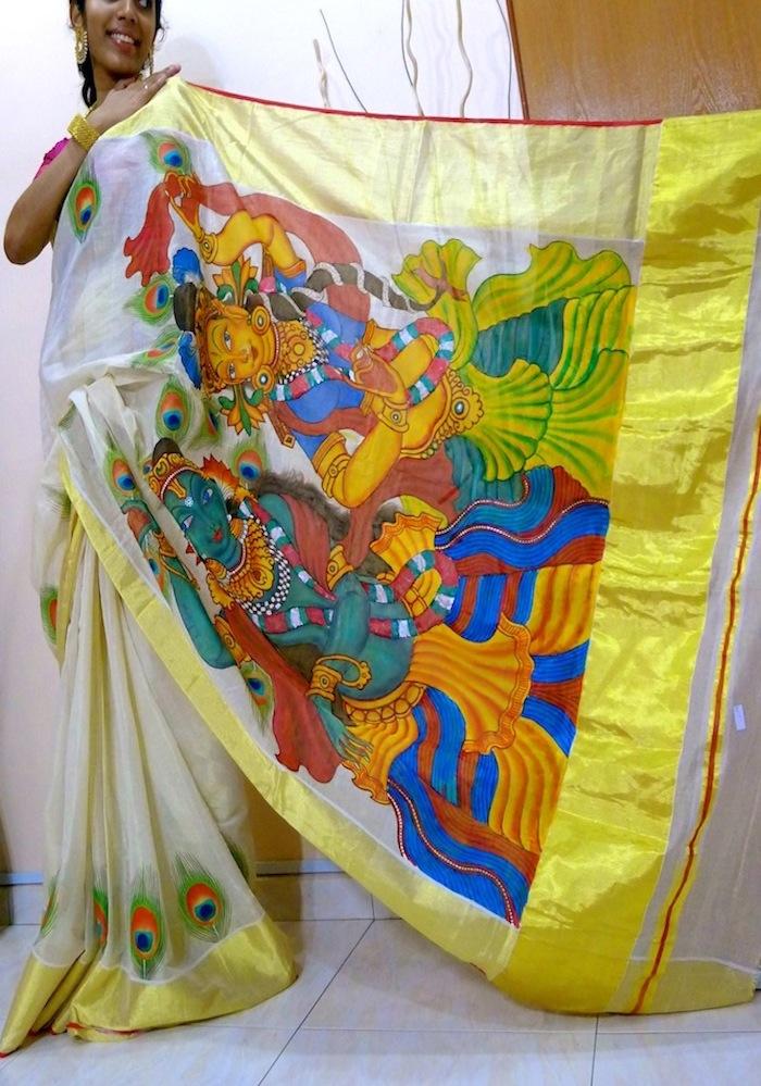 radhakrishna saree mural painting