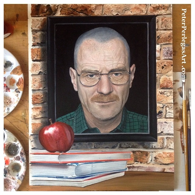 realistic painting walter white peter perlegas