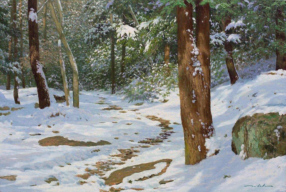 snow nature realistic scenery painting by jung hwan