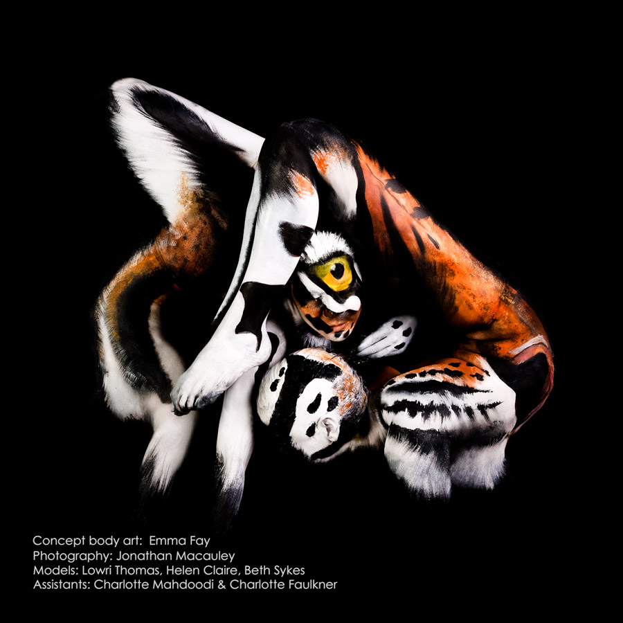 tiger body painting art by emma fay