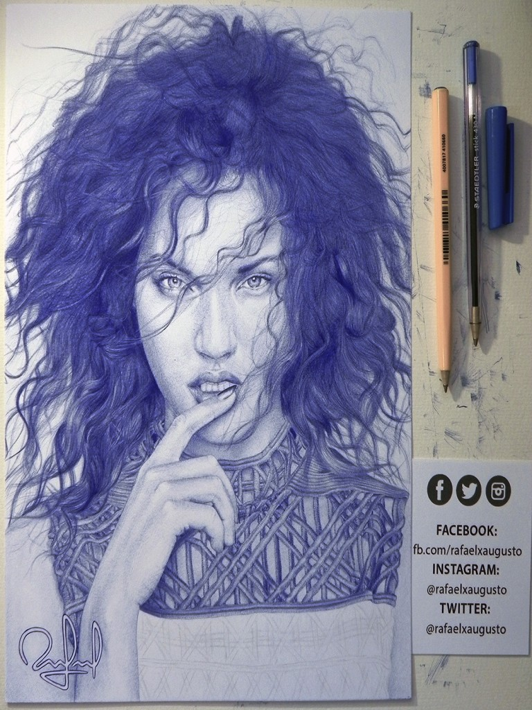 woman pen drawings by rafael augusto