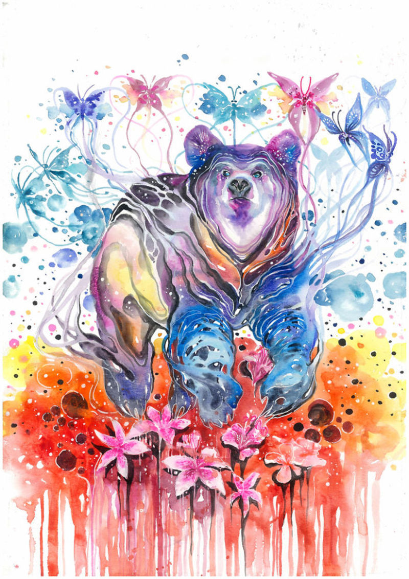 9 bear animal watercolor paintings by luqman reza