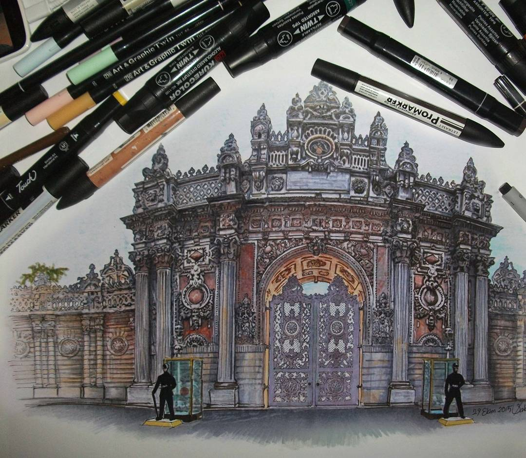 castle realistic drawings by ayse bakir