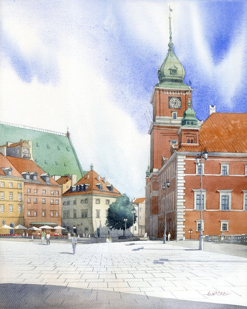 9 castle watercolor paintings by wrobel