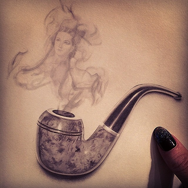 cigarette pipe pencil drawing by stacy jea
