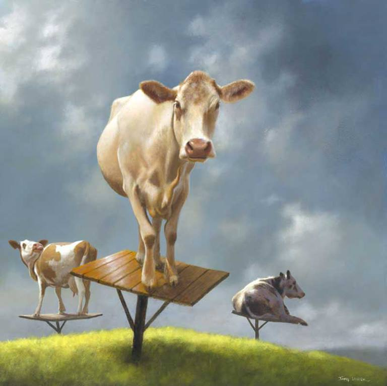 cow surreal paintings by jimmy lawlor
