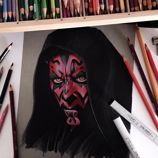 death maul color marker drawings by stephen ward