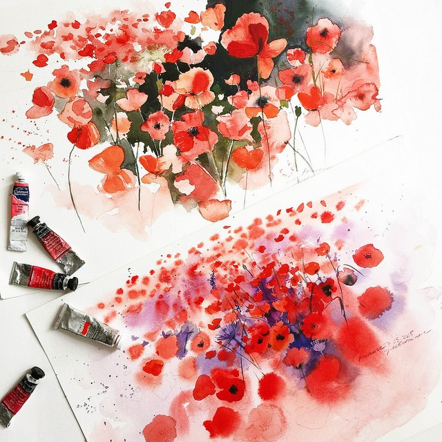 flowers watercolor paintings by julia barminova