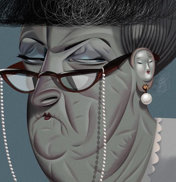 grandma funny digital illustration by nigel buchanan