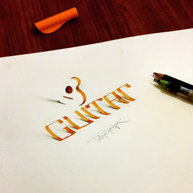 9 guitar 3d calligraphy drawings by tolga