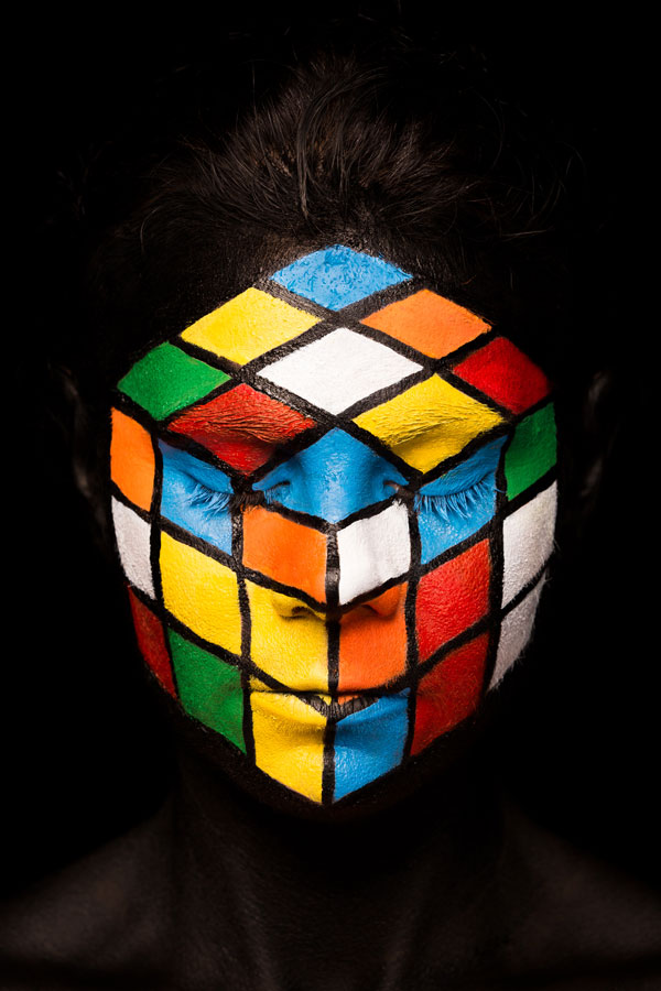 rubik body painting art by emma fay