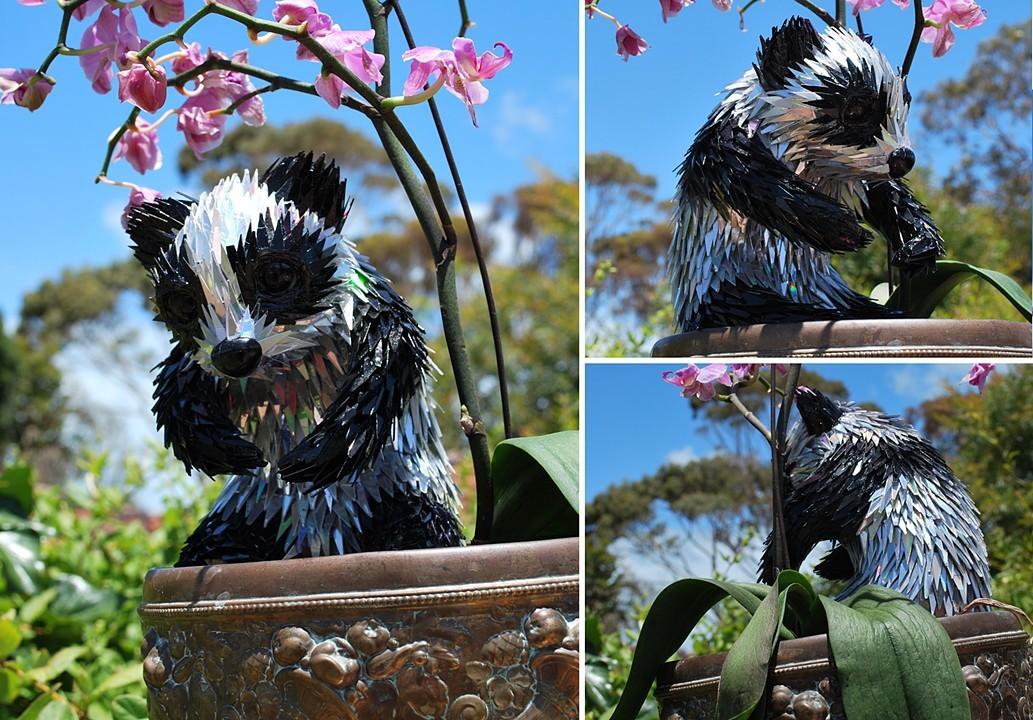 scrap cd sculpture pandas sean e avery