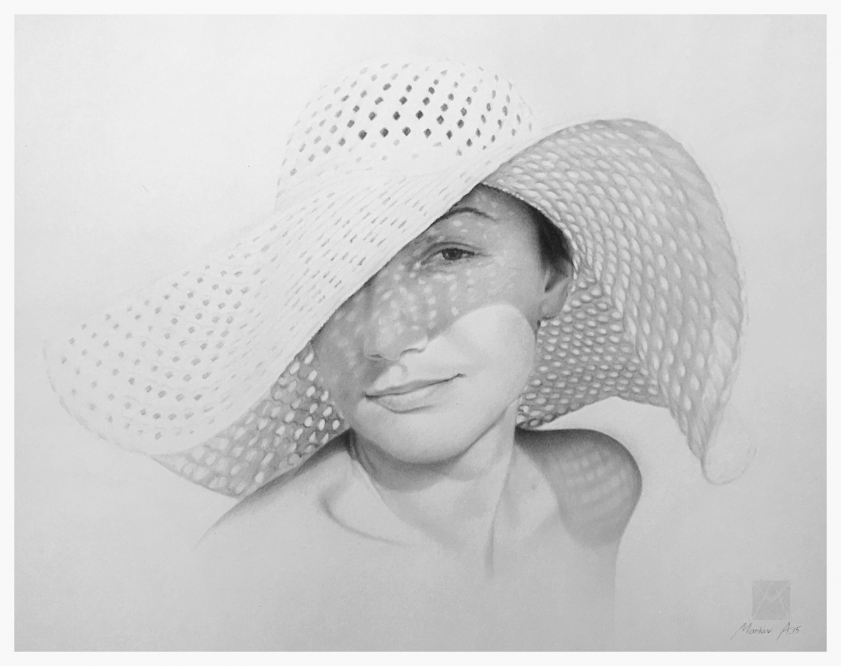 pencil drawing portrait woman hat andriy markiv