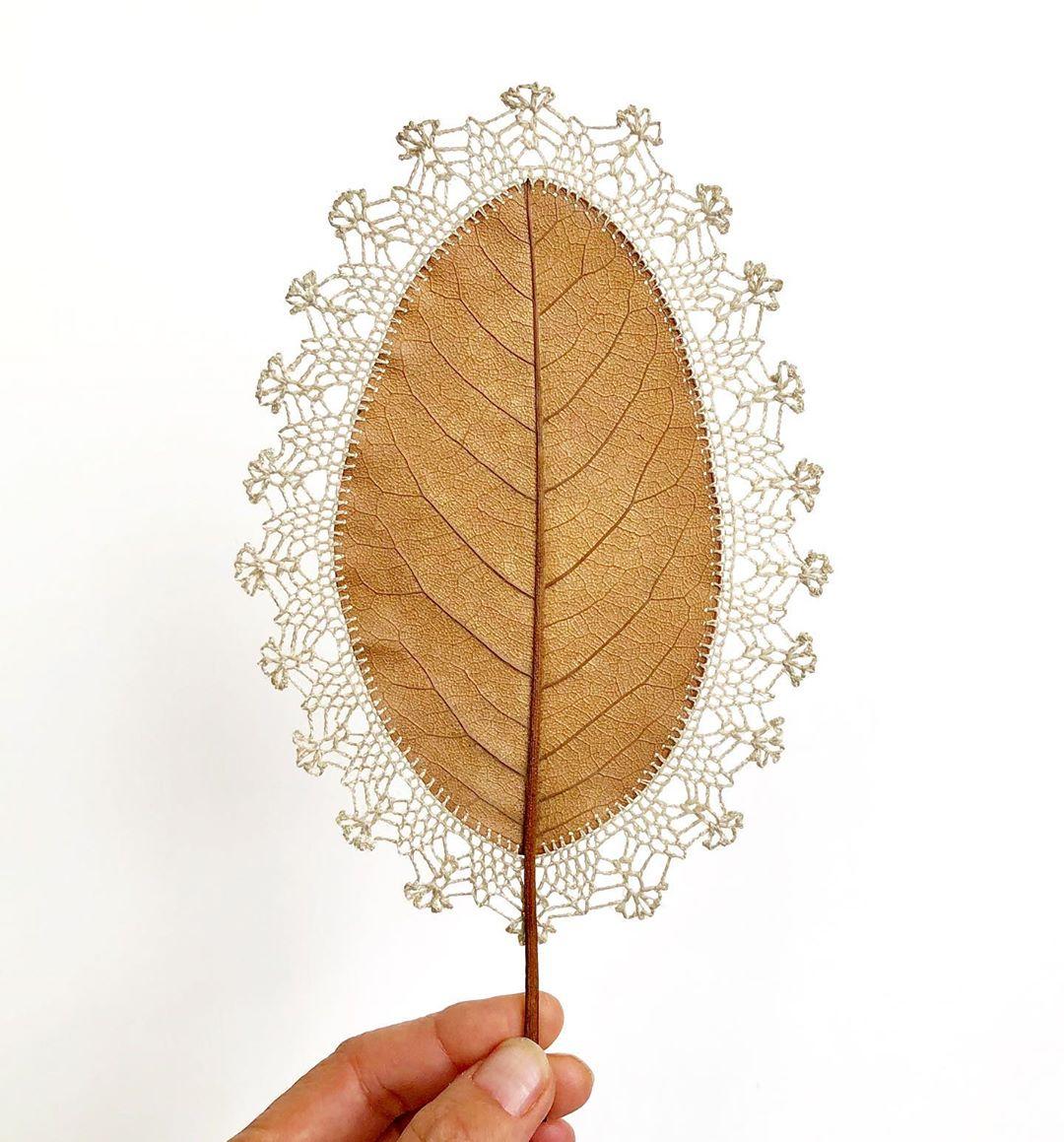 embroidery leaf art mirror susanna bauer