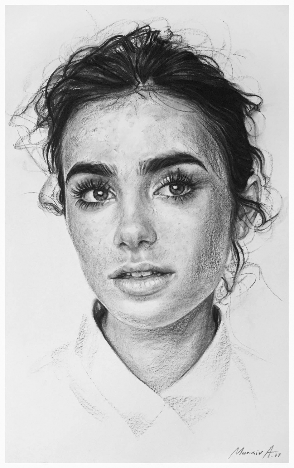pencil drawing portrait woman lily collins andriy markiv