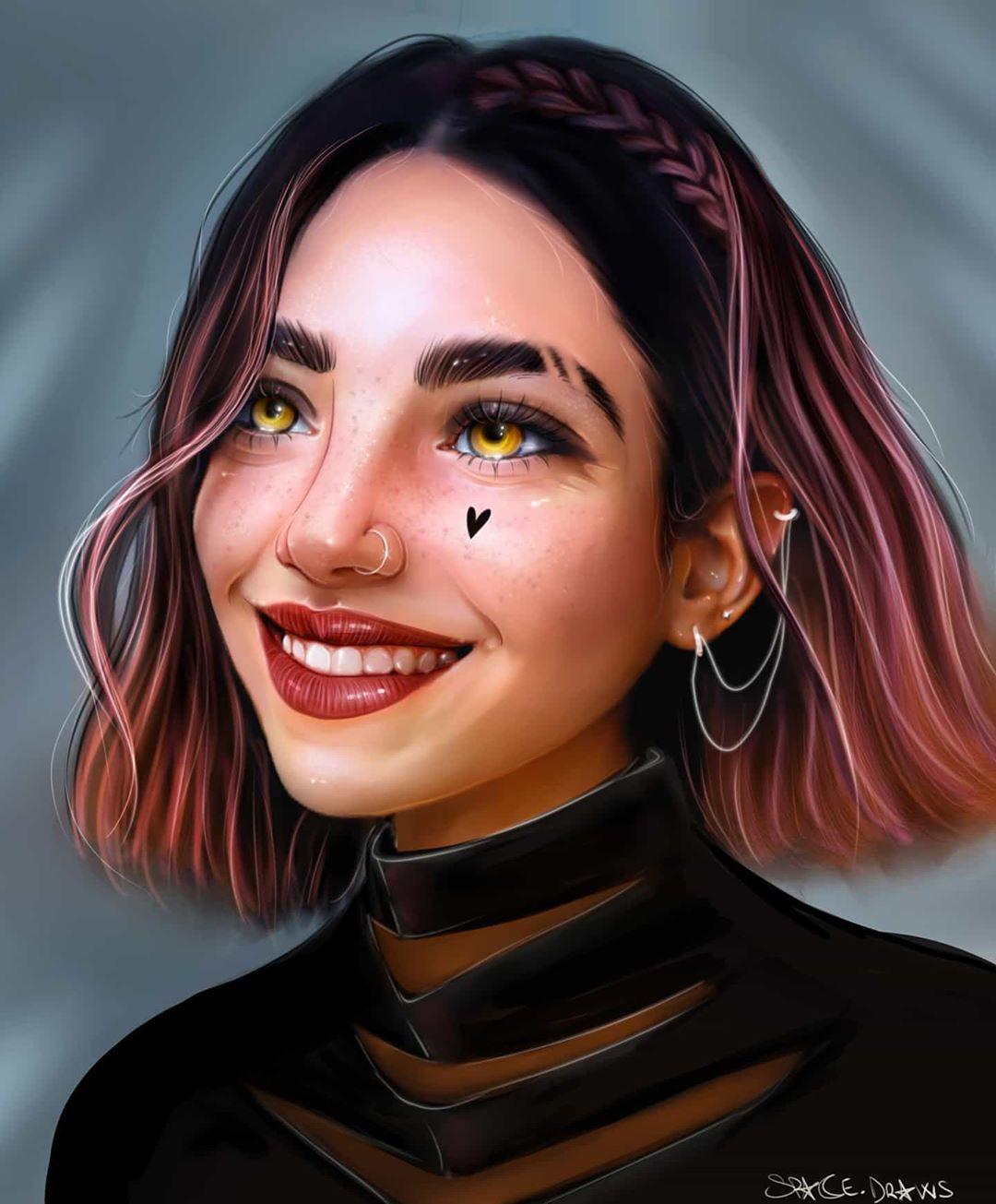 digital painting orange eyes spacedraws