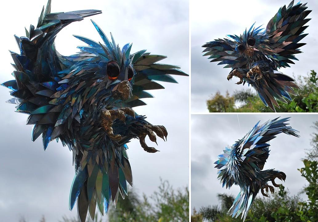 scrap cd sculpture horn rimmed owl sean e avery