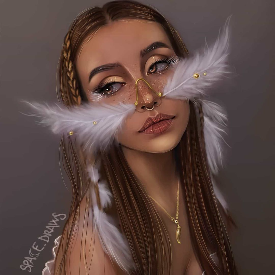 digital painting feather nose spacedraws