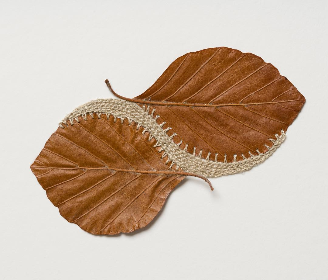 embroidery leaf art waves susanna bauer