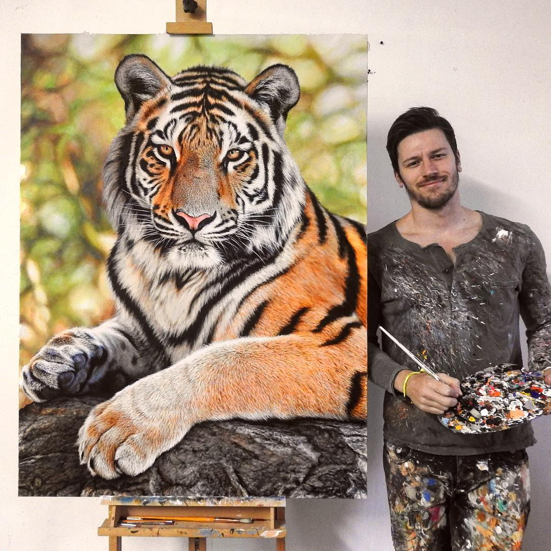 painting seated tiger nick sider