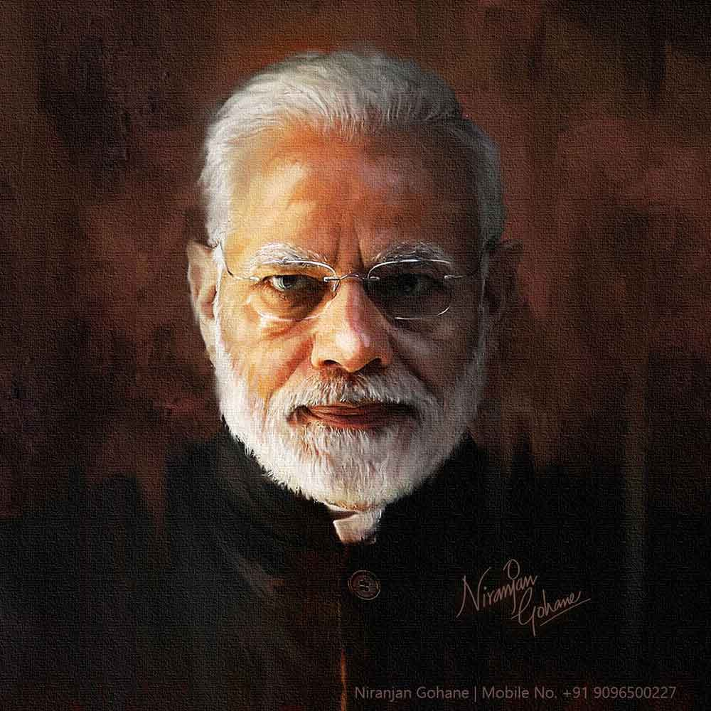 photo digital painting narendra modi niranjan gohane