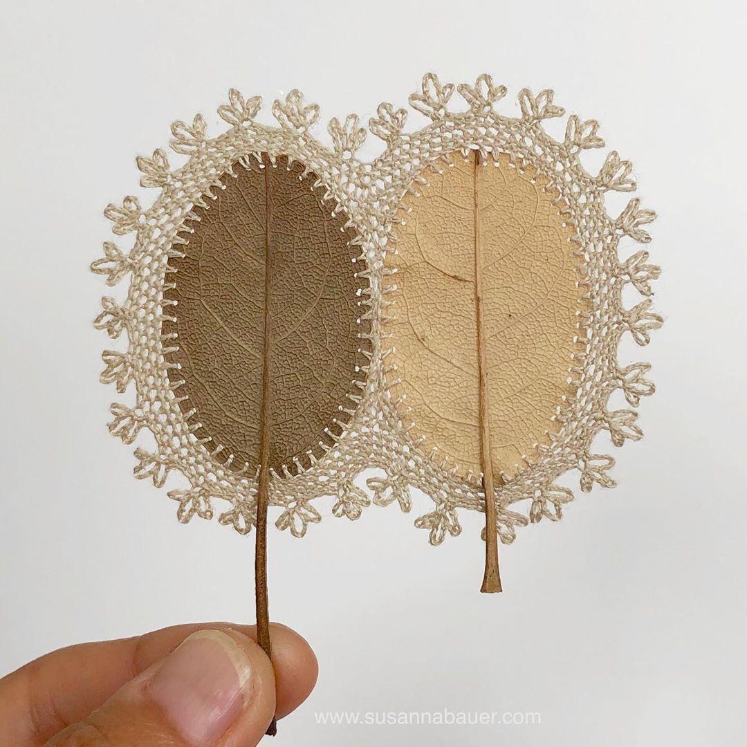 embroidery leaf art yin yan susanna bauer