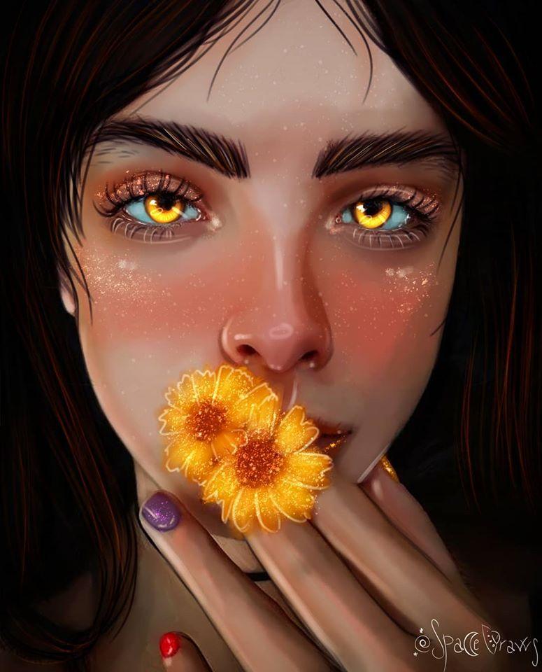digital painting portrait flowers spacedraws
