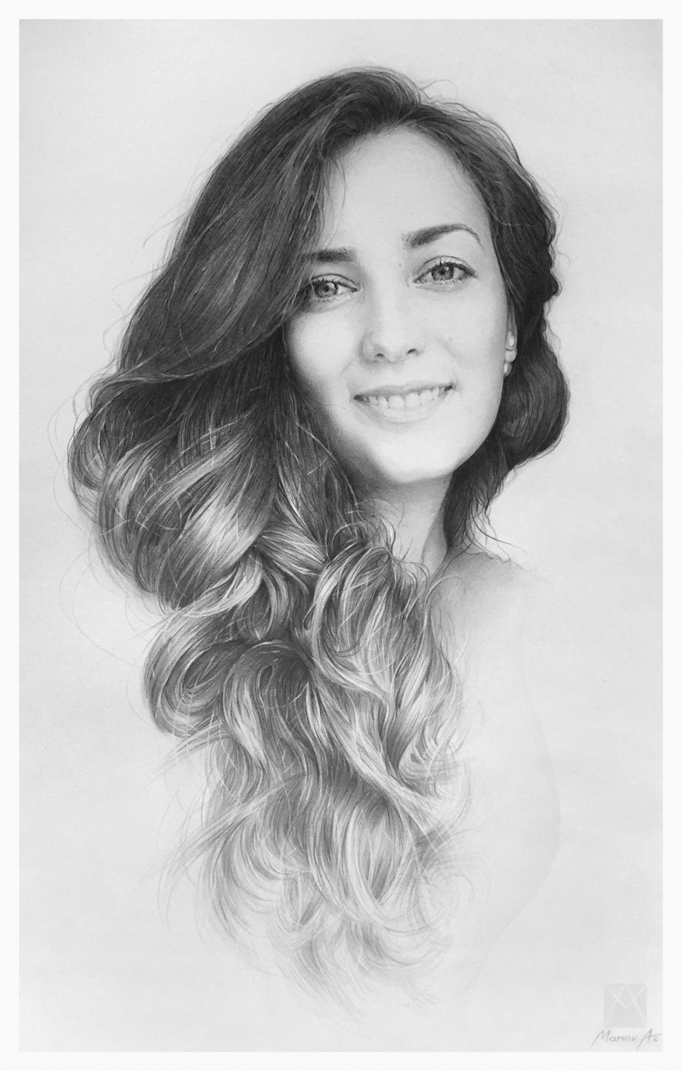 pencil drawing portrait woman andriy markiv