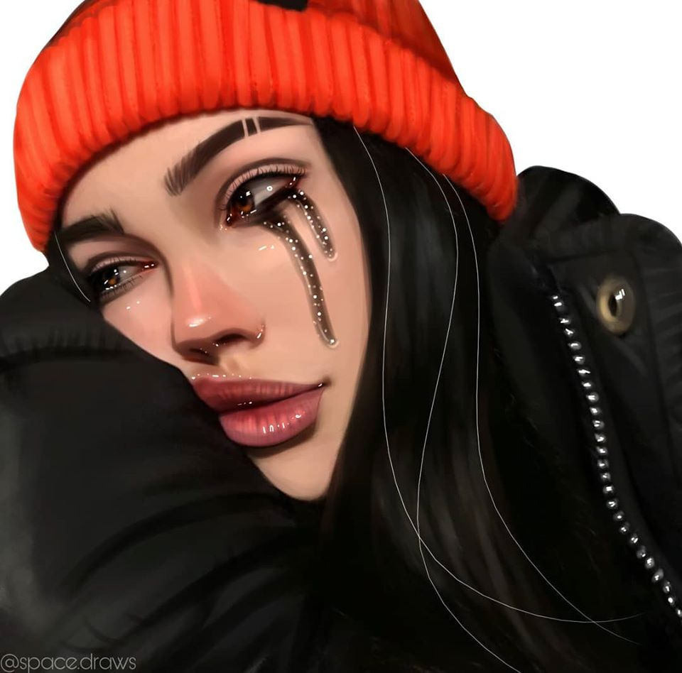 digital painting portrait cry spacedraws