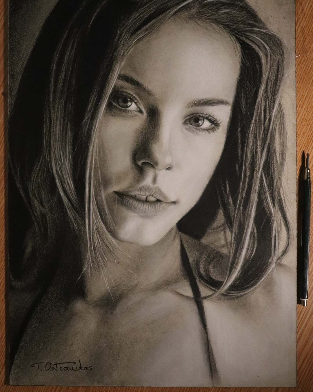 portrait pencil drawing lady tomas ostrauskas