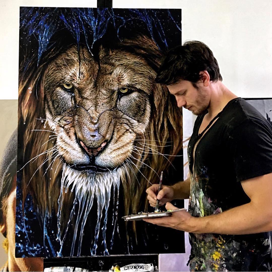painting drip lion nick sider