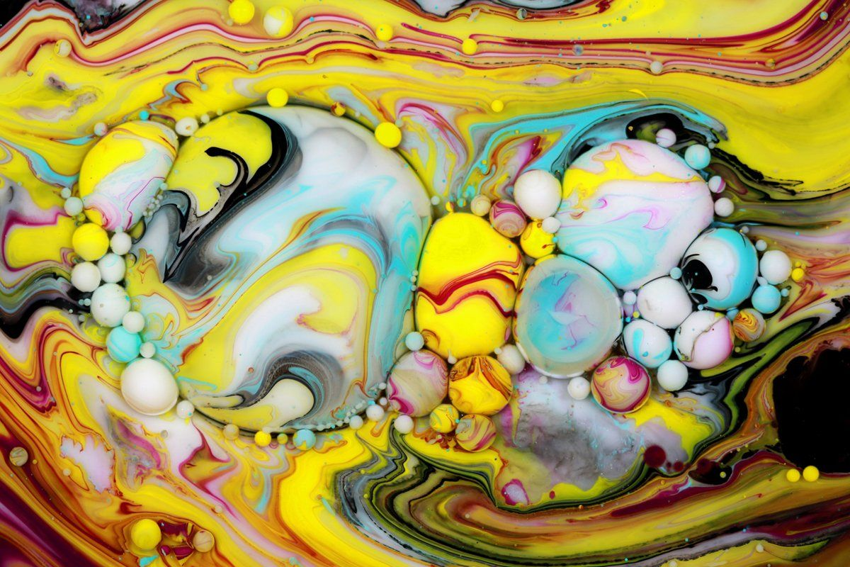 paintings bubble yellow seb duke