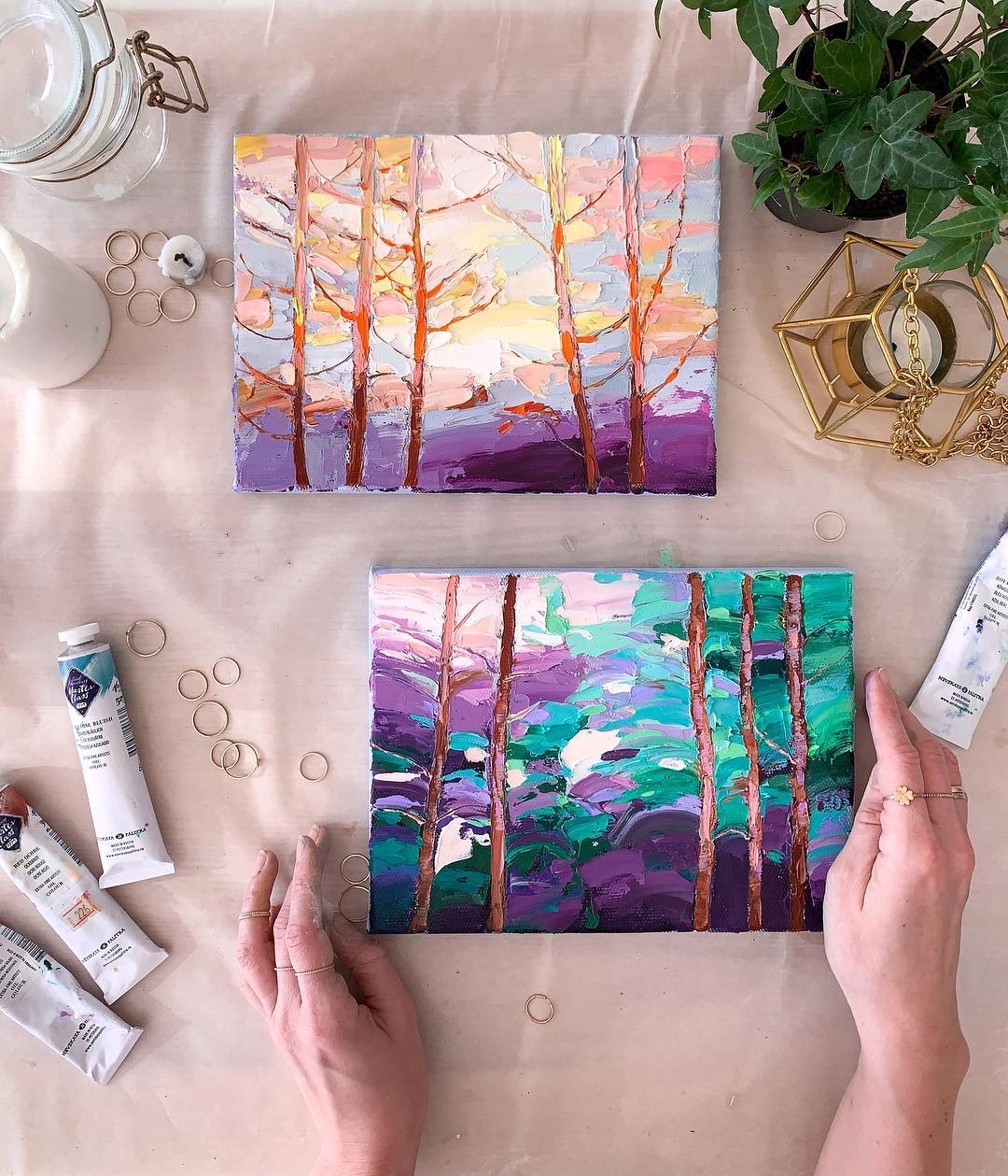 painting color trees alena suleimanova