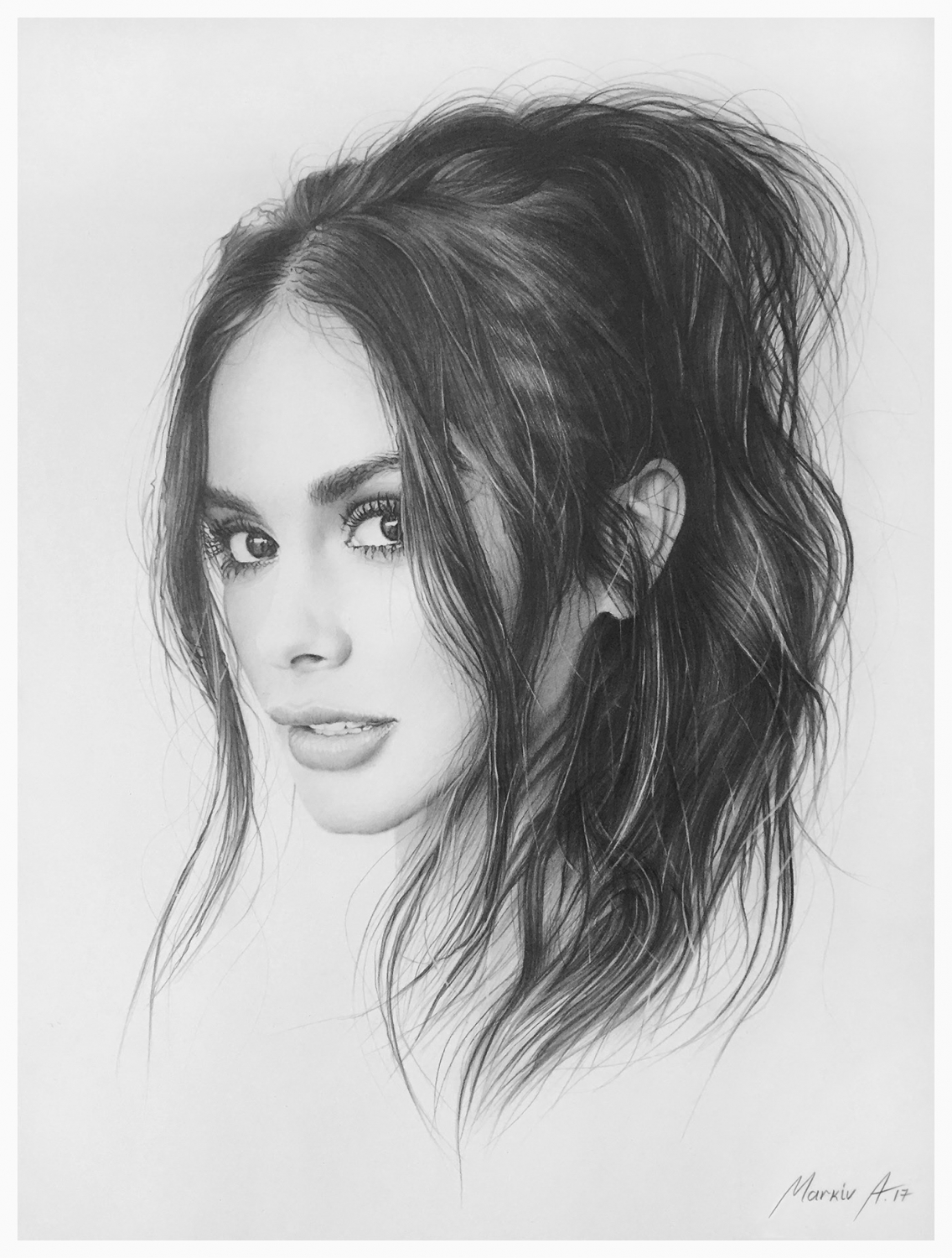 pencil drawing portrait woman sofia andriy markiv