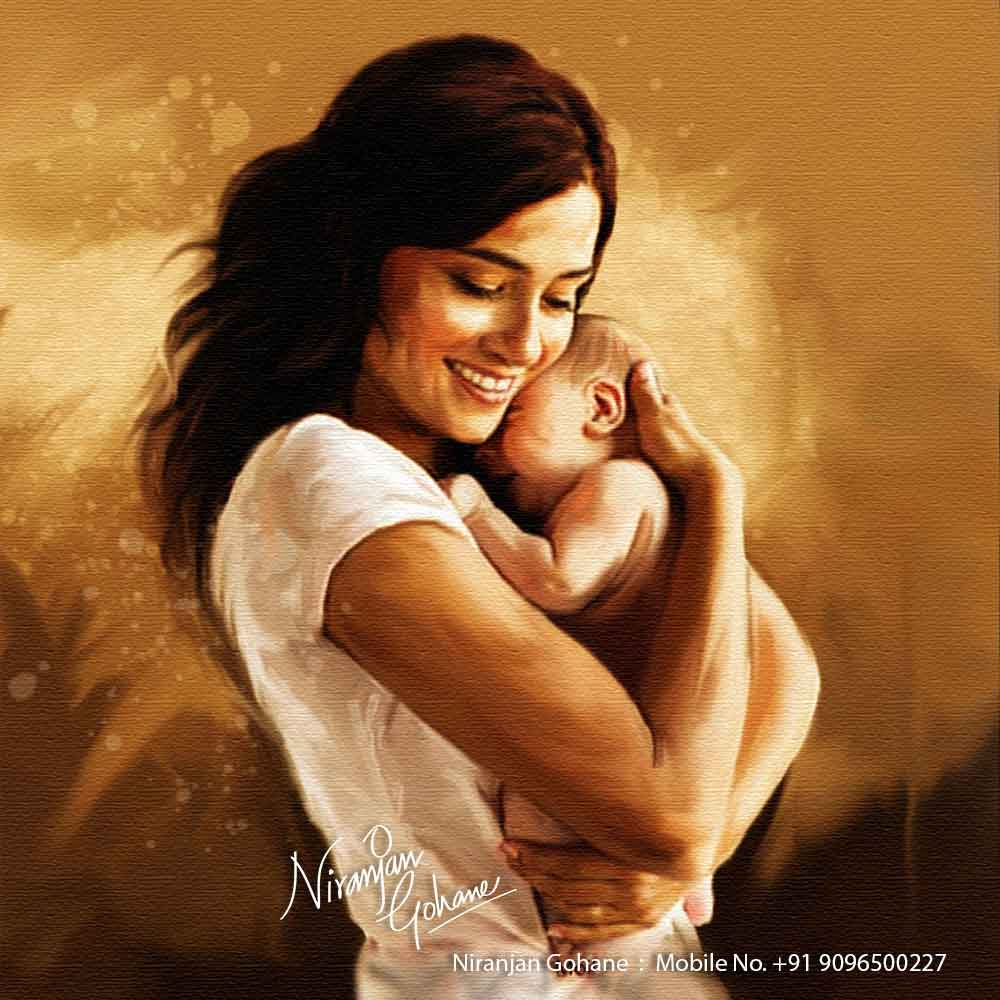 photo digital painting mother child niranjan gohane
