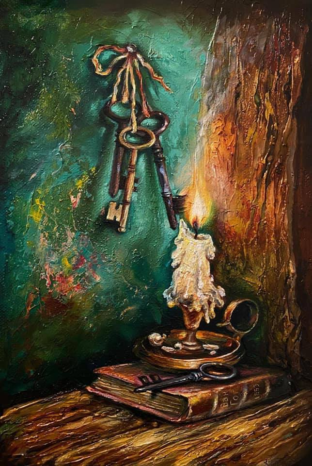 1 beautiful oil painting candle by gor atabekyan art