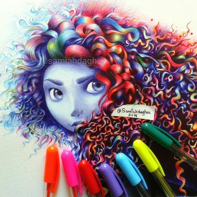 pen drawing merida by samia h dager