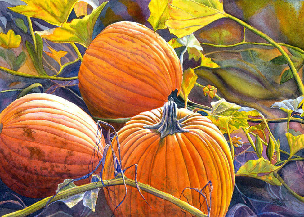 1 watercolor painting pumpkin by cathy hillegas
