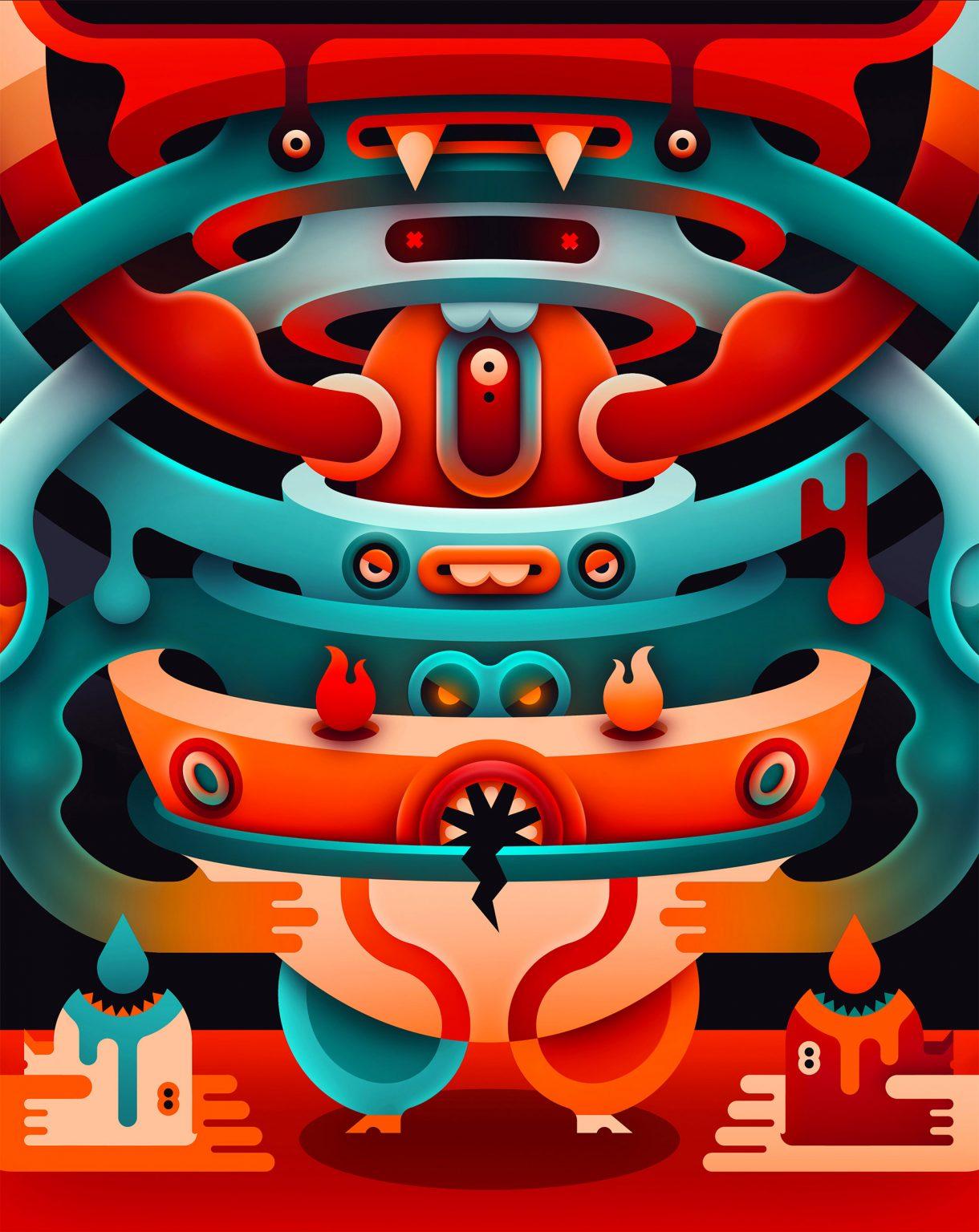colourful digital illustration by kamil bialogrzywy