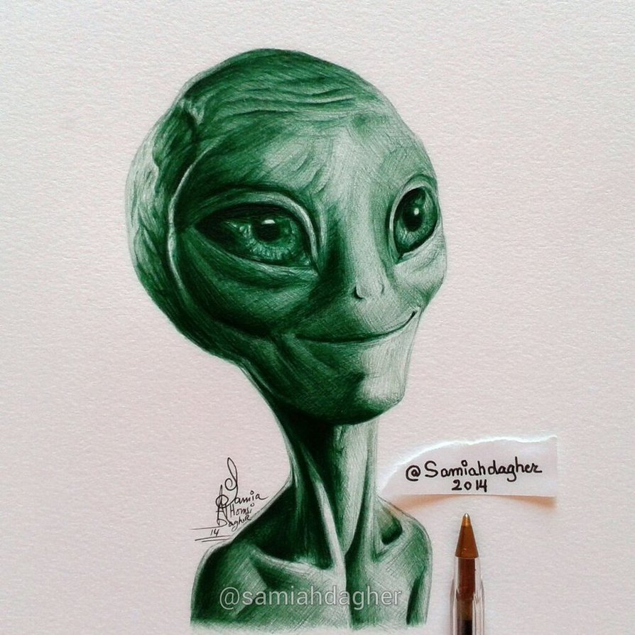 pen drawing alien by samia h dager