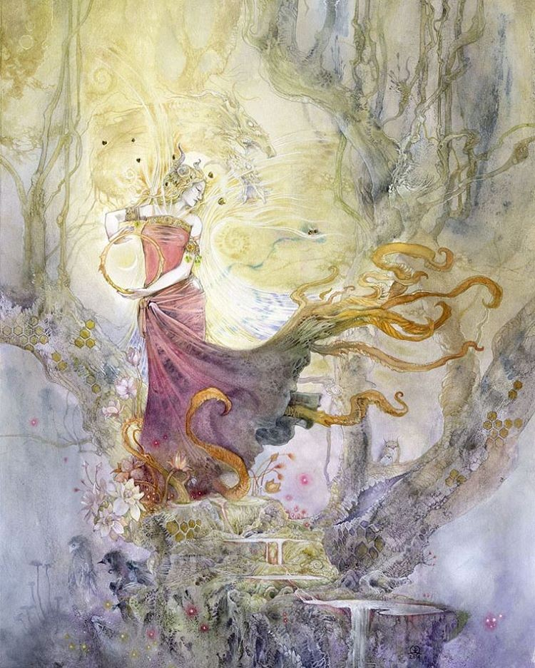 surreal watercolor painting woman dress by puimun law