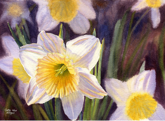 watercolor painting yellow flower by cathy hillegas