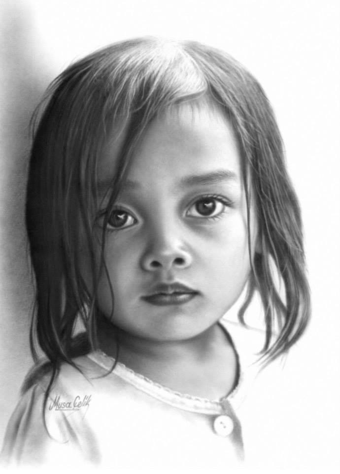portrait pencil drawing girl by musa celik