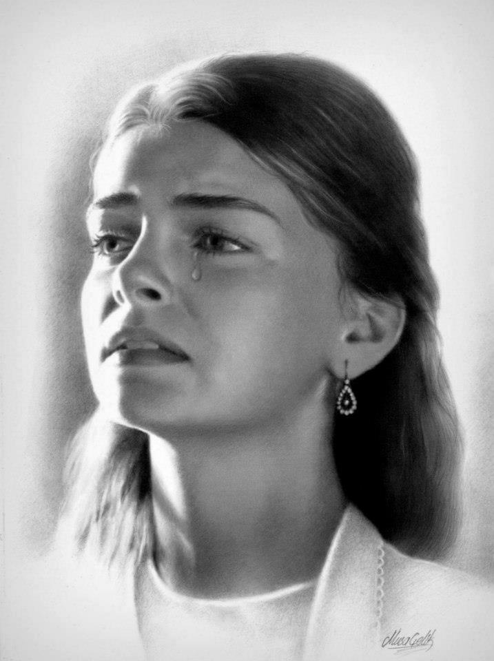 pencil drawing sad lady by musa celik