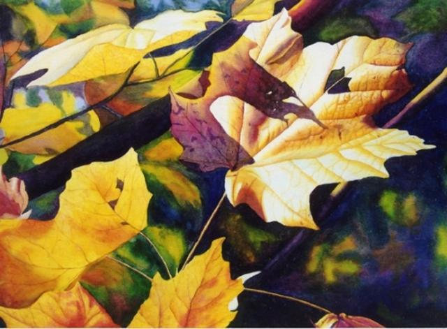 watercolor painting leaf by cathy hillegas