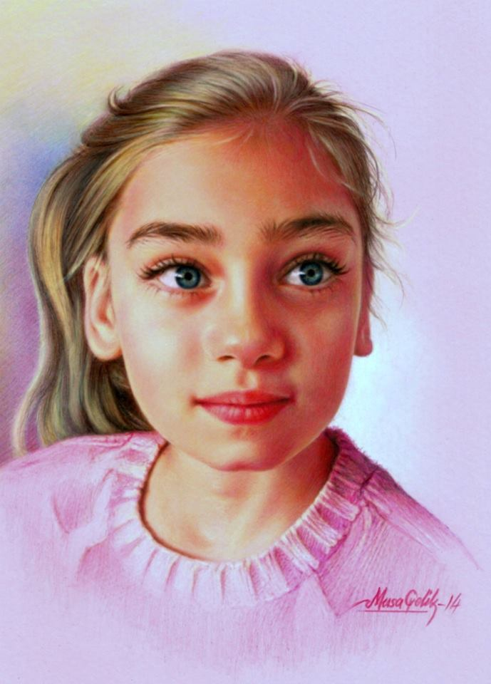 13 color pencil drawing girl