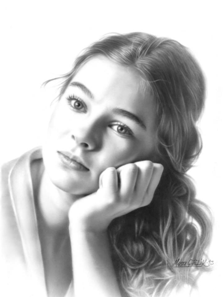portrait pencil drawing cute girl by musa celik