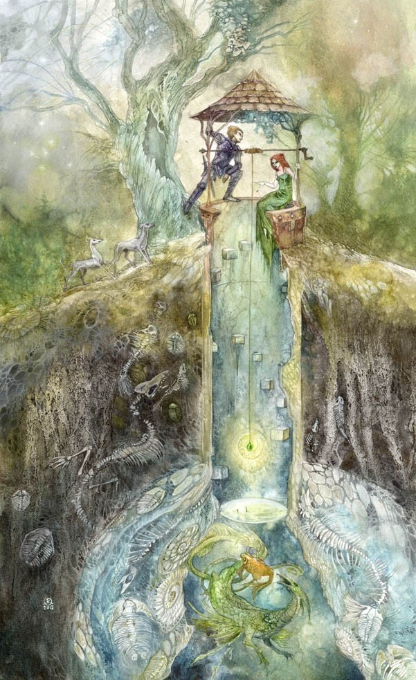 surreal watercolor painting well by puimum law